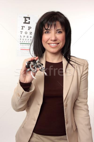 Optometrista quadros oculista amigável sorrir Foto stock © lovleah