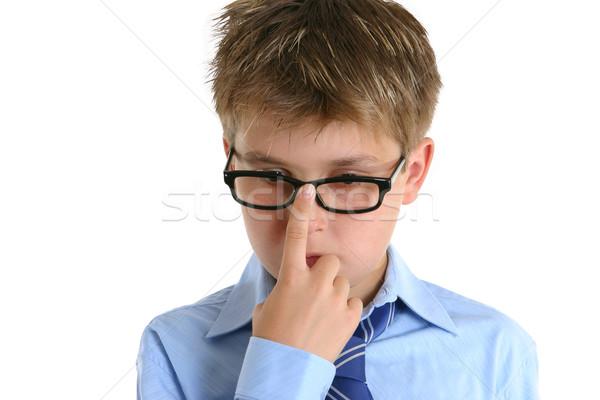 Schooljongen kind voortvarend bril omhoog neus Stockfoto © lovleah