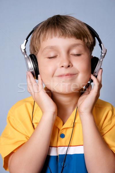 Kind muziek jongen kinderen gelukkig Blauw Stockfoto © lovleah