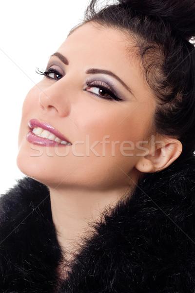 Vrouw pels mooie vrouw make Stockfoto © lovleah
