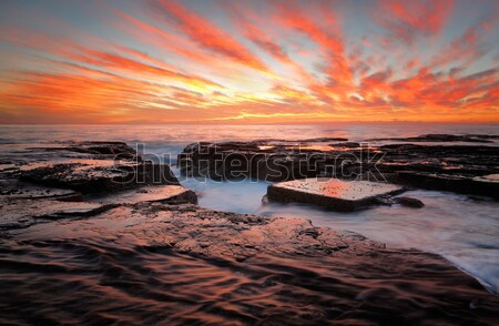 Red skies over North Narrabeen Australia Stock photo © lovleah