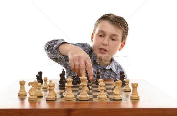 Satranç hareket oyuncu oyun tahta Stok fotoğraf © lovleah