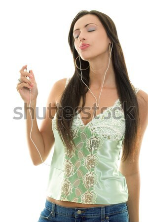 Woman with MP3 player Stock photo © lovleah