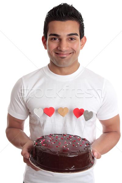Stockfoto: Man · romantische · hart · cake · verliefd