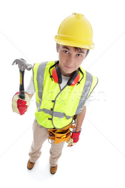 Constructeur permanent marteau au-dessus perspectives vue Photo stock © lovleah
