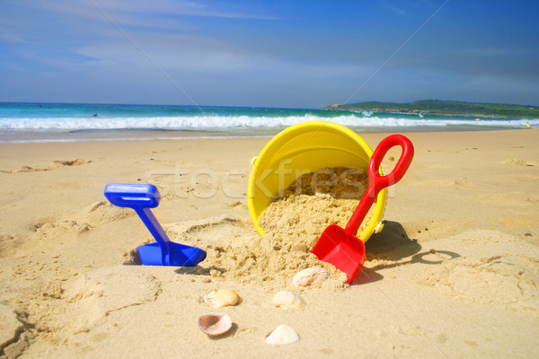 Strand emmer spade zandstrand schelpen speelgoed Stockfoto © lovleah