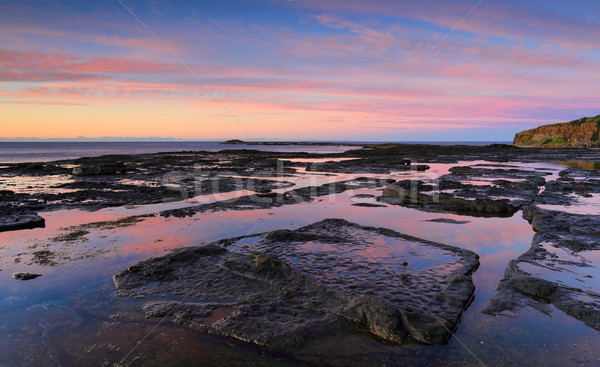 Tükröződések tengerpart part Ausztrália védtelen víz Stock fotó © lovleah