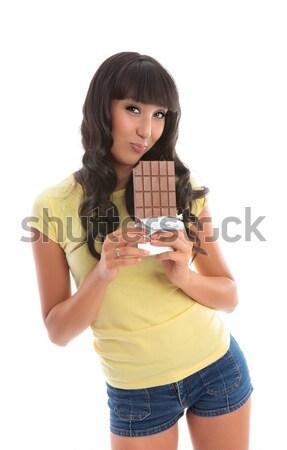 Attractive girl loving chocolate Stock photo © lovleah