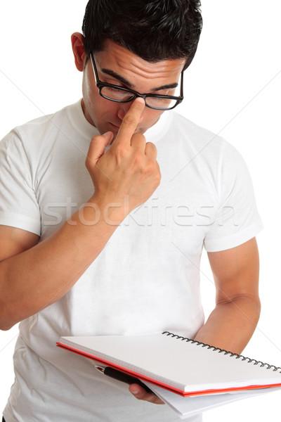 Stockfoto: Student · voortvarend · omhoog · bril · gezicht