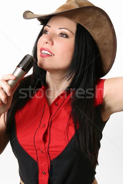 Zanger gastheer vrouw westerse microfoon Stockfoto © lovleah