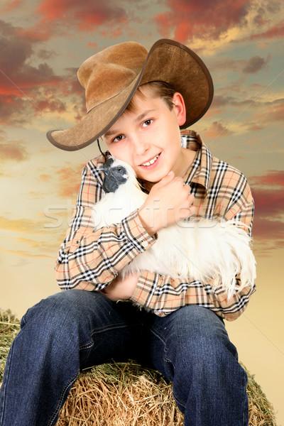 Farm fiú ül bála széna tart Stock fotó © lovleah