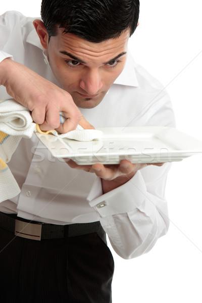 Pincér szolgáló takarítás bemutat tányér férfi Stock fotó © lovleah