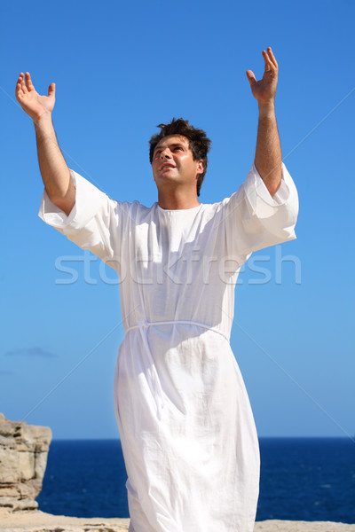 Бога человека белый халат рук Сток-фото © lovleah