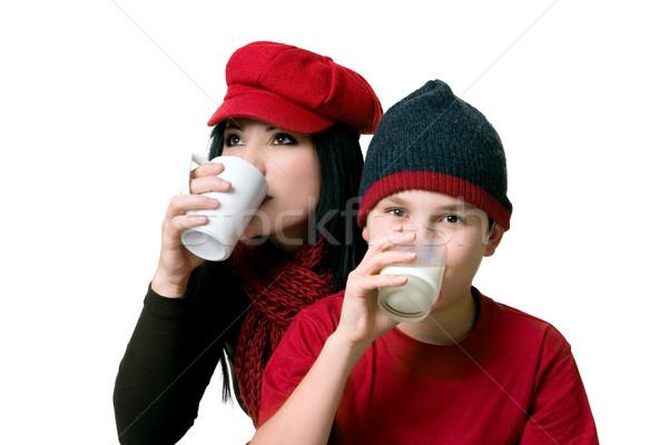 два человека питьевой напитки взрослый горячий напиток напиток Сток-фото © lovleah