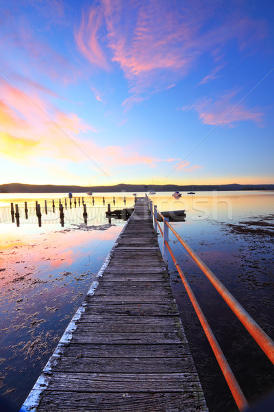 Summer sunset jetty and pool Yattalunga Australia Stock photo © lovleah