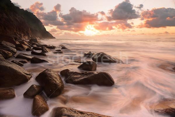 Rocky ocean flows Zenith Beach Seascape Stock photo © lovleah