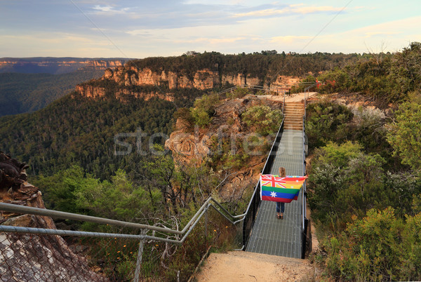 Australia Said Yes Woman crossing bridge with Flag Stock photo © lovleah