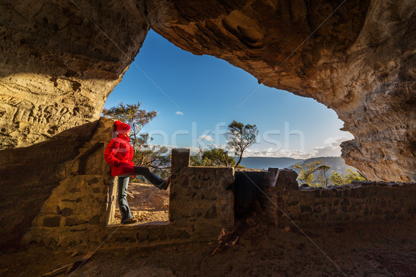 Female looking out from cave Blue Mountains Australia Stock photo © lovleah