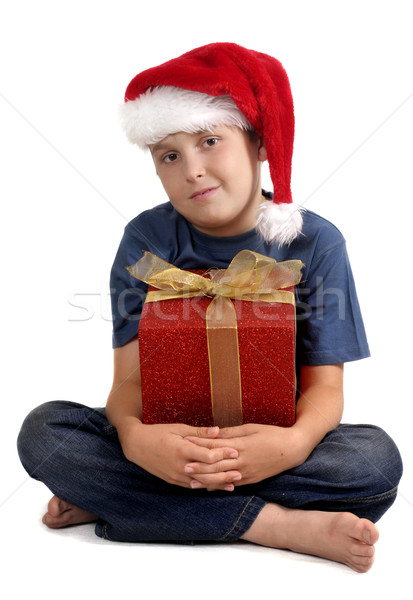 Sitting young boy with Christmas Gift Stock photo © lovleah