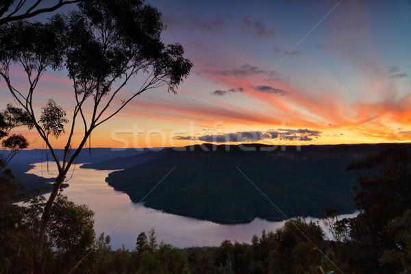 Mozzafiato tramonto lago Australia valle Foto d'archivio © lovleah