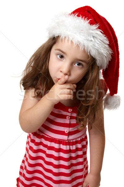 Santa girl hushing or gesturing for quiet Stock photo © lovleah