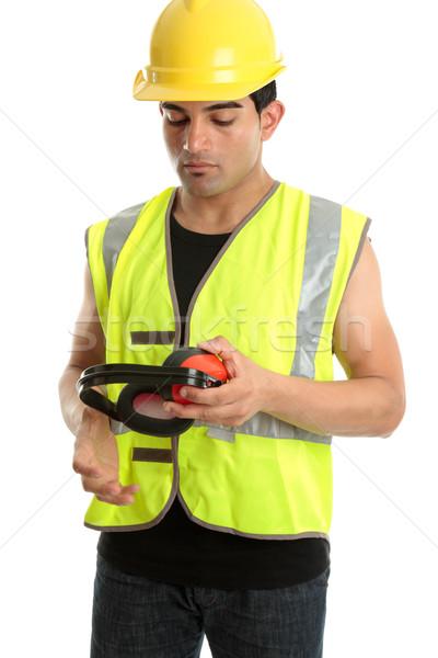 Construtor trabalhador trabalhando trabalhador corda Foto stock © lovleah