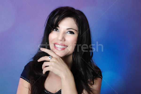 Belle femme cheveux noirs grand heureux sourire Photo stock © lovleah