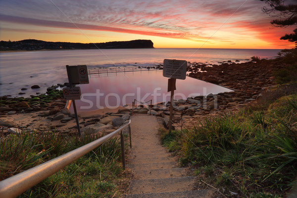 Beach path to Tidal Baths at Macmasters Beach Stock photo © lovleah