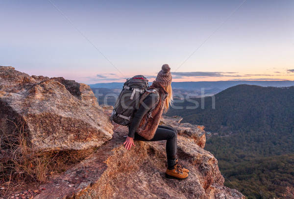 Female with backpack on mountain peak Blue Mountains Stock photo © lovleah