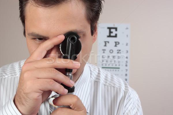 Optometrikus sebész lencse tárcsa megvizsgál orvos Stock fotó © lovleah