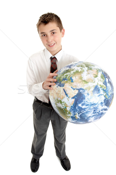 School student holding the world in his hands Stock photo © lovleah
