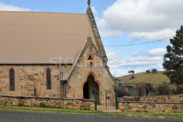 Ev dua rustik kumtaşı kilise kırsal Stok fotoğraf © lovleah