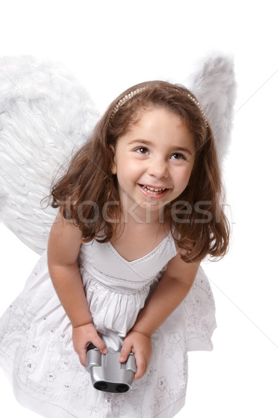 Smiling angel fairy with binoculars Stock photo © lovleah