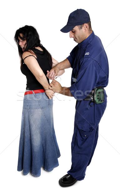 Subay kadın güvenlik kelepçe kişi adam Stok fotoğraf © lovleah