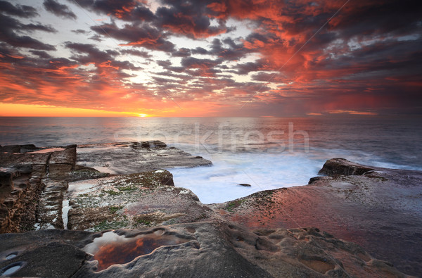 Summer sunrise over Maroubra and reflections Stock photo © lovleah