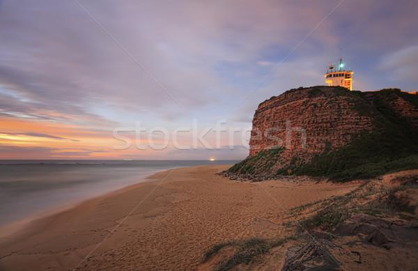 Fej világítótorony Newcastle jelzőtűz fény hajók Stock fotó © lovleah