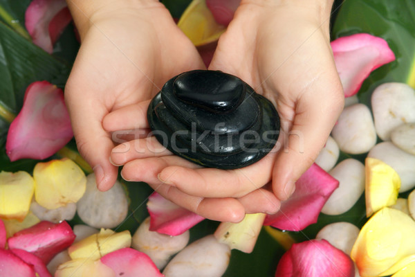 Hands holding basalt stones Stock photo © lovleah