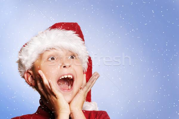 Happy boy snowing white Christmas Stock photo © lovleah