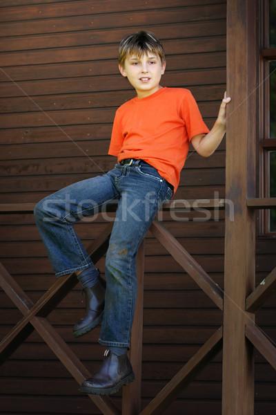 Boy sitting on the verandah Stock photo © lovleah