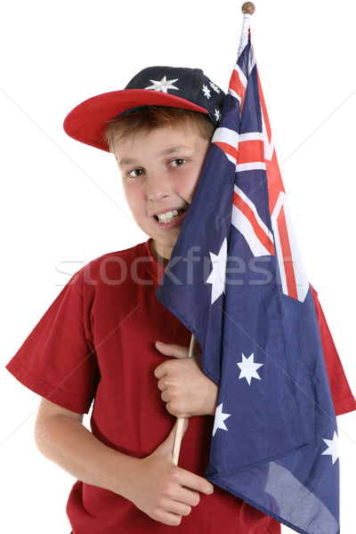 Patriotic boy holding Australian flag Stock photo © lovleah