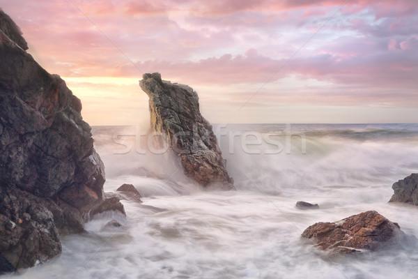 波 海岸線 日の出 海 波 サージ ストックフォト © lovleah