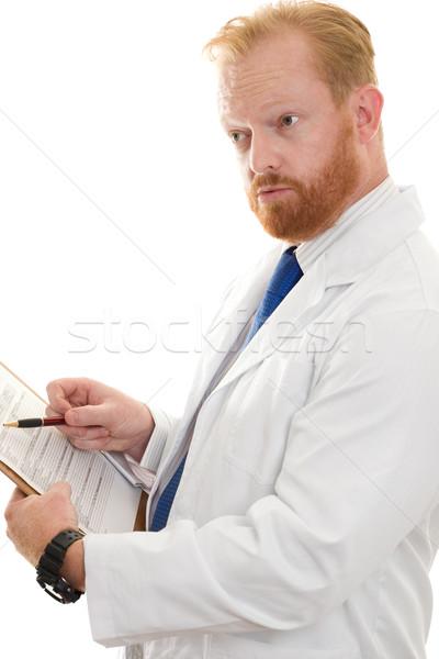 Arts wetenschapper bespreken informatie papierwerk Stockfoto © lovleah