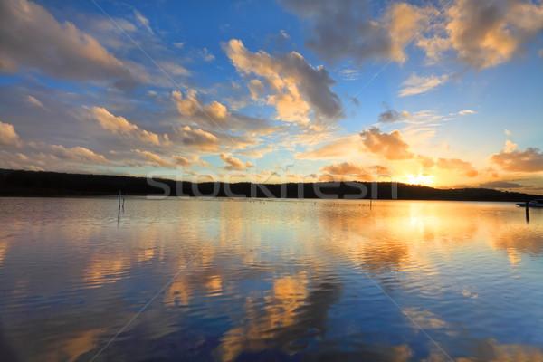 Puesta de sol Australia verano ostra granjas Foto stock © lovleah