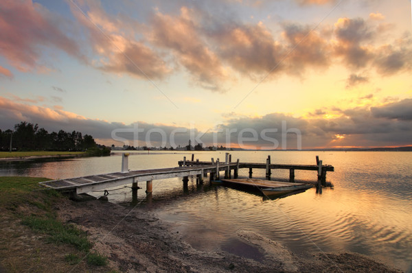 Sunset at Squids Ink Jetty, Belmont on Lake Macquarie. Stock photo © lovleah