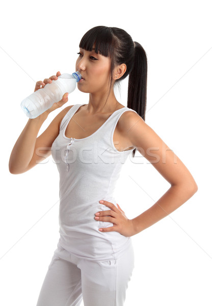 Fit healthy girl drinking water Stock photo © lovleah