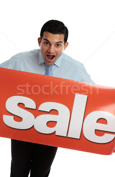 Ecstatic man with SALE sign Stock photo © lovleah