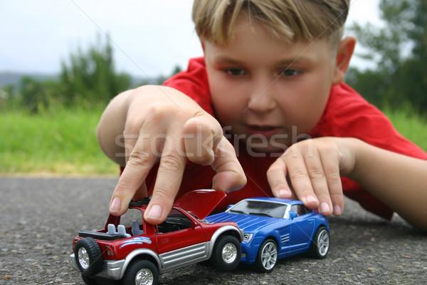 Crash chłopca gry zabawki samochody samochodu Zdjęcia stock © lovleah