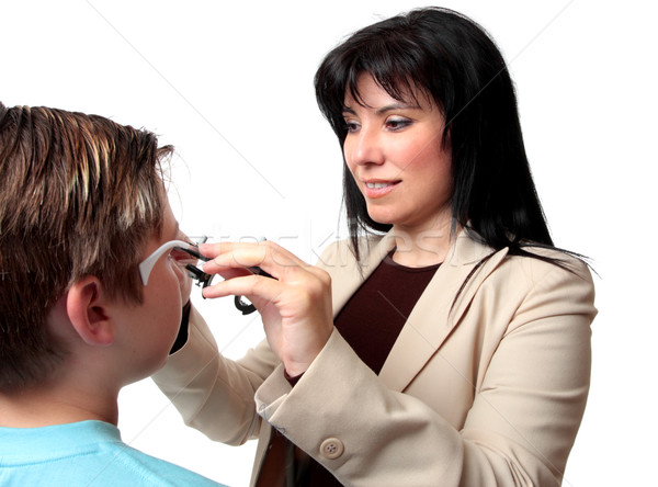 Optometrista quadros paciente criança trabalhando visão Foto stock © lovleah