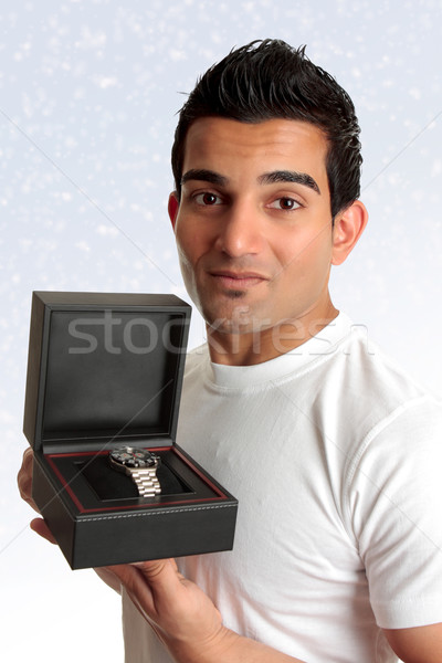 Man holding box product Stock photo © lovleah