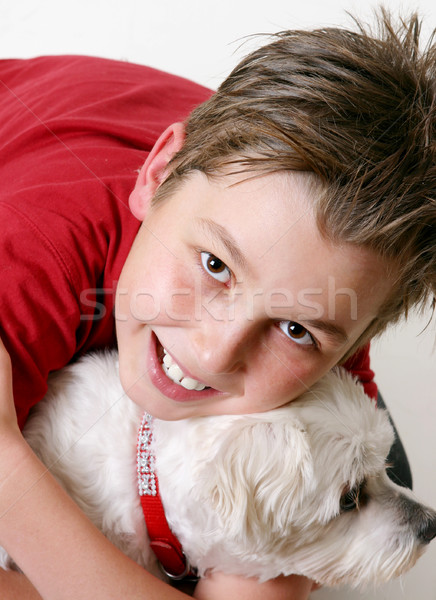 Young boy and a dog Stock photo © lovleah